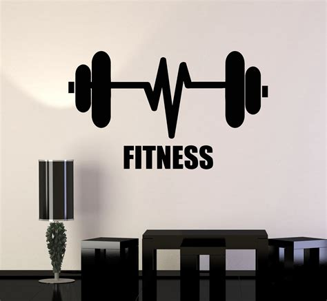 Barbell Fitness vinyl wall decal fitness barbell bodybuilding sports
