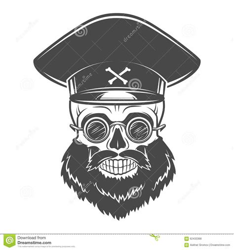 Bearded Skull With Captain Cap And Goggles Dead Stock