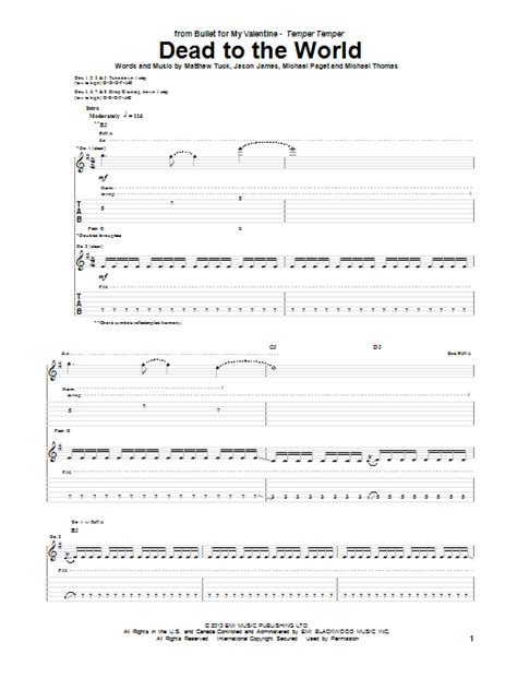 bullet for my tabs dead to the world by bullet for my guitar tab