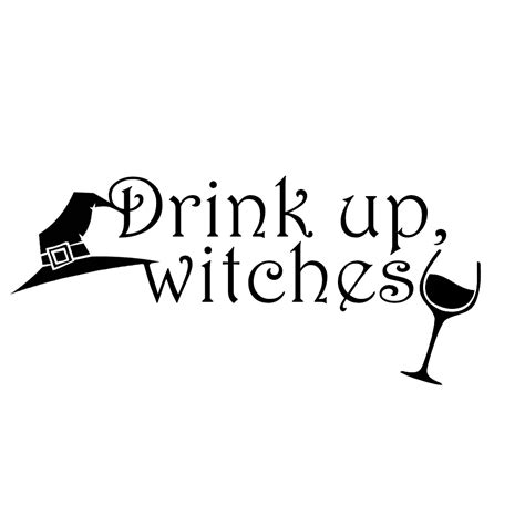 Wine Wall Stickers drink up witches wine funny vinyl sticker car decal