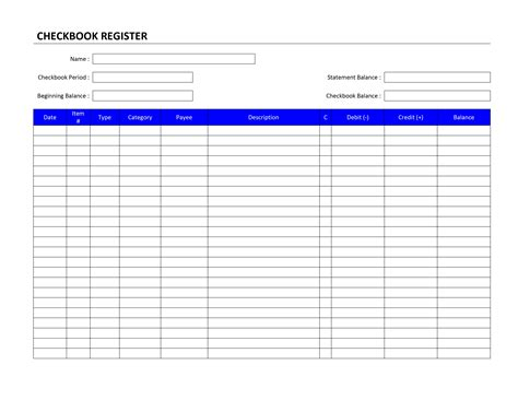 Checkbook Register Template Checkbook Register Template