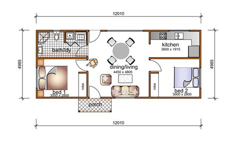 ordinary 2 story house floor plans with measurements #2: 2-bedroom-granny-flat-plans-9-5535.jpg