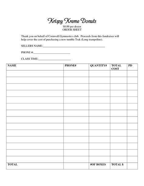 printable krispy kreme order forms best photos of blank fundraiser order forms fundraiser
