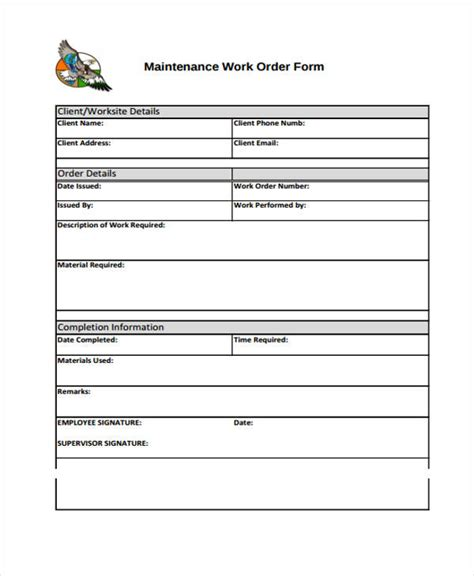 Maintenance Work Order Template Excel by Work Order Templates 9 Free Pdf Format Free