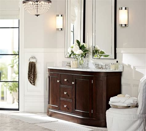 pottery barn sink console brinkley demilune double sink console espresso finish