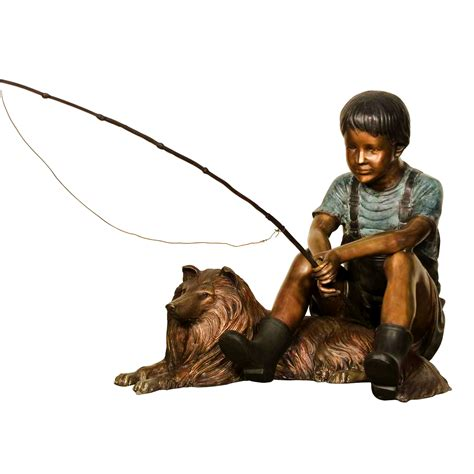 Ornamental Home Design Inc bronze boy fishing with collie dog sculpture