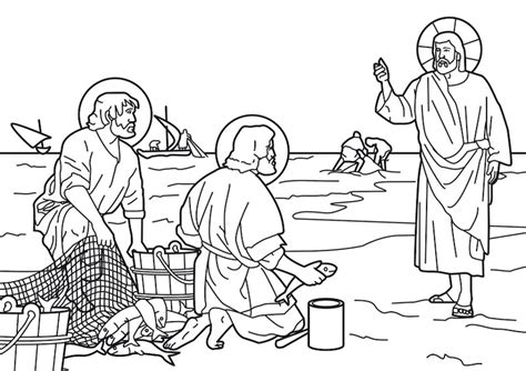 coloring pages of jesus and his disciples jesus calls the fishermen and andrew to be his