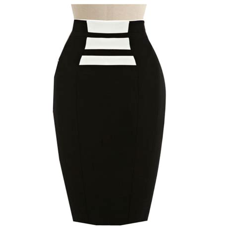 black and white pencil skirt custom fit handmade linen
