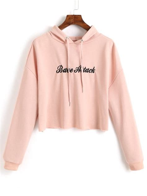 letter cropped hoodie pink m crop letter embroidered hoodie shallow pink hoodies