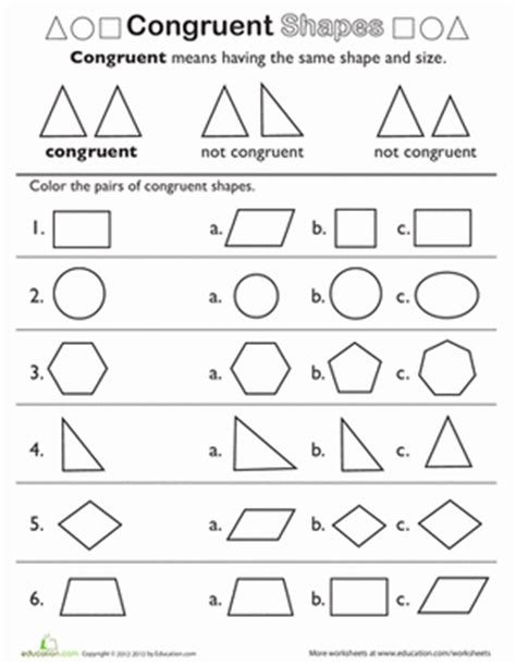 shape pattern worksheets for 2nd grade shape basics congruent shapes worksheet education com