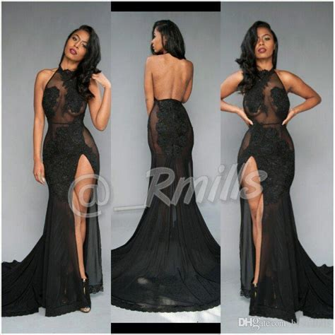Open Back Sexy Black Prom Dresses 2017 High Thing Split with Vintage Lace Halter Evening Dresses