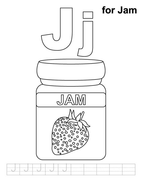 Jam Coloring Pages j for jam coloring page with handwriting practice free j for jam coloring page with