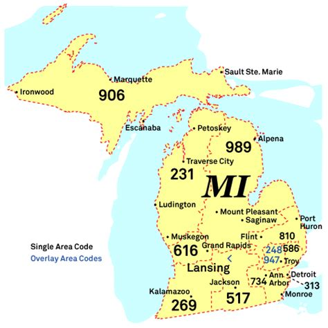 michigan area code map nanpa number resources npa area codes