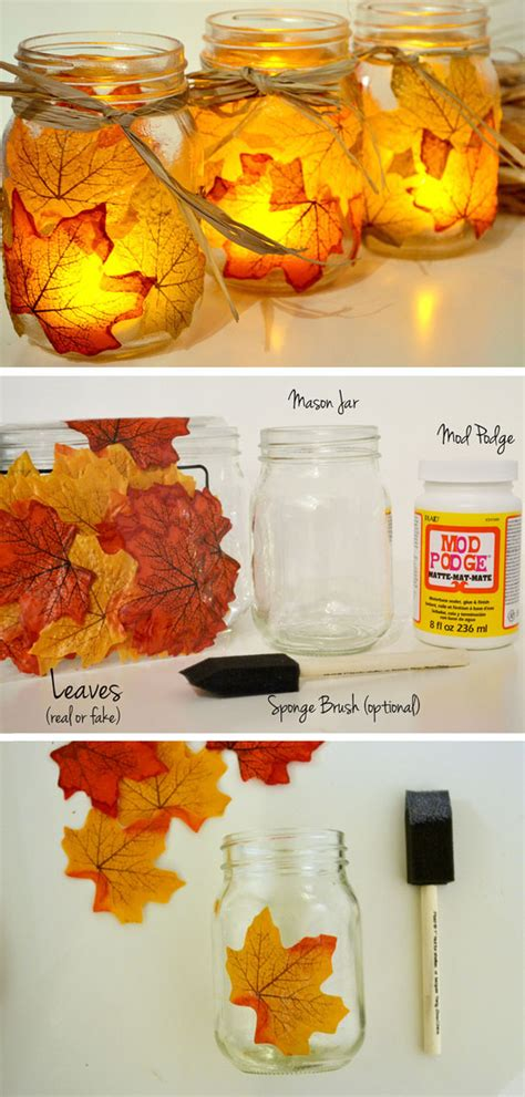 fall craft projects for adults fall leaf jar candle holder 35 diy fall