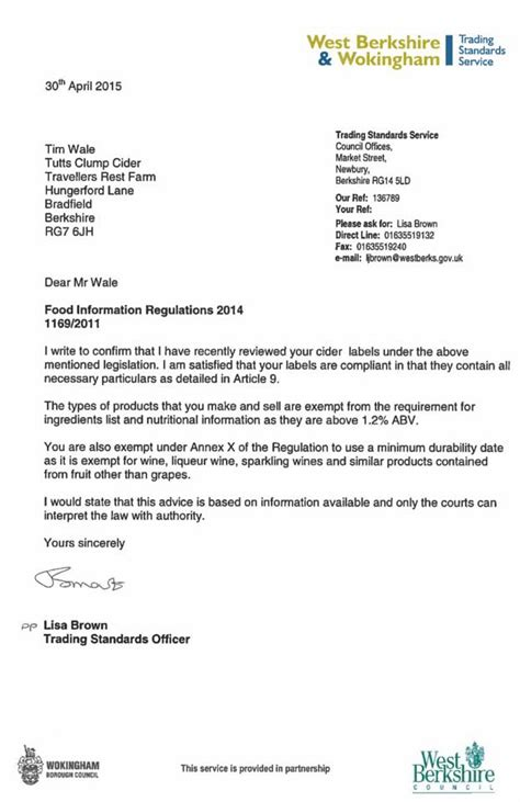 Complaint Letter Template Trading Standards Stuff Tutts Clump Cider