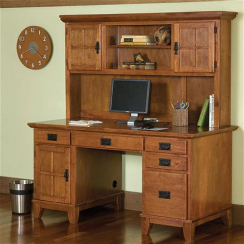 home styles arts and crafts pedestal computer desk and