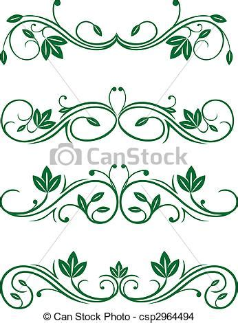 decorations drawings eps vector of vintage floral decorations isolated on white