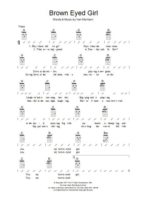 strum pattern to brown eyed girl brown eyed girl sheet music direct