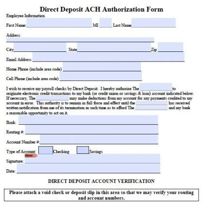 ach form template direct deposit form business form templates