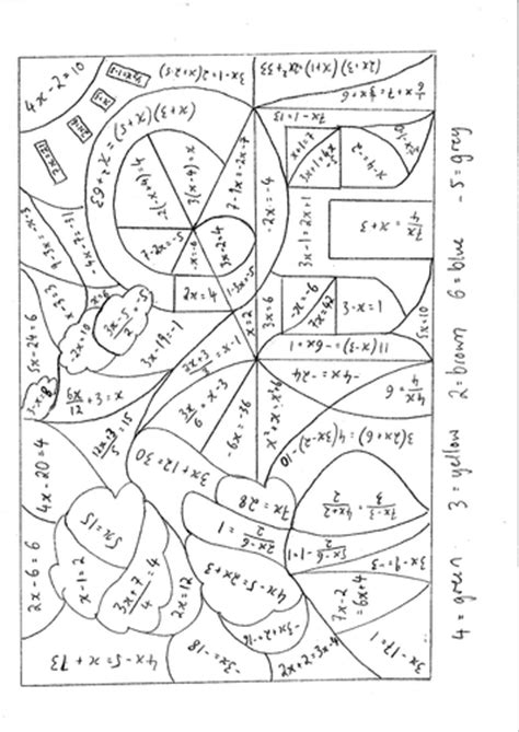 math equation coloring pages calculated colouring solving equations grades c a by