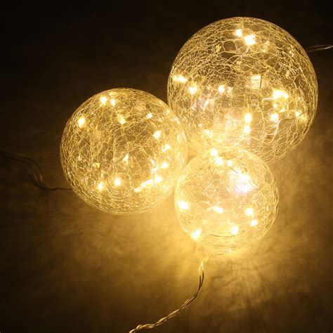 how to light balls 45 led crackled glass string lights home garden
