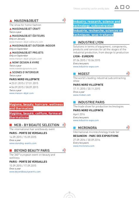 Calendrier Des Salons Calendrier Des Salons Internationaux En France 2015 2016