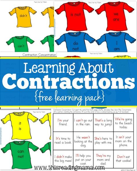 printable contraction games free contraction printables