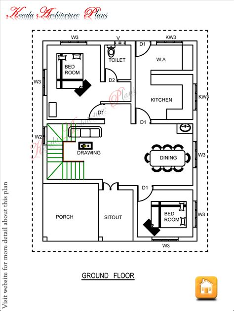 Floor Plan 3 Bedroom House | three bedroom house plan architecture kerala