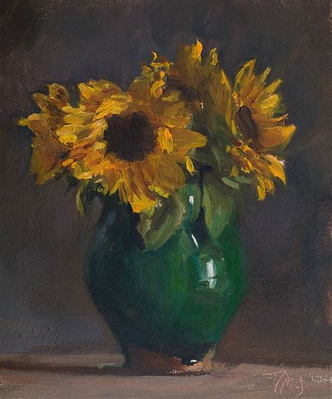 Vase Painting by Daily Paintings Vase Of Sunflowers Postcard From Provence
