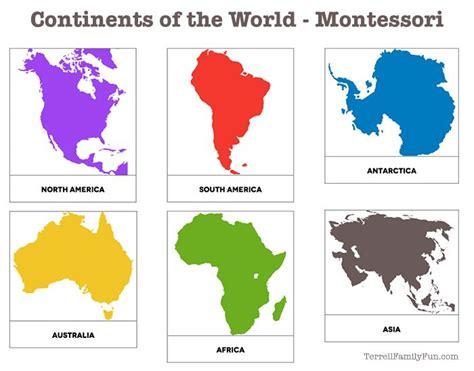 continents   world montessori printable  kids