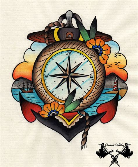 tattoo old school school tattoos design with flash compass and anchor