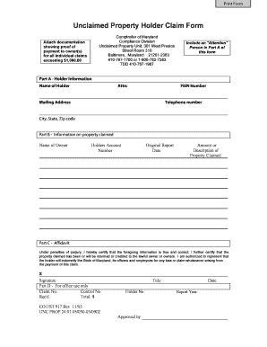 fillable form 503 comptroller of maryland fillable online unclaimed property holder claim form