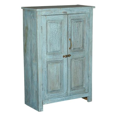 Wood Storage Cabinets Distressed Blue 2 Door Reclaimed Wood Storage Cabinet