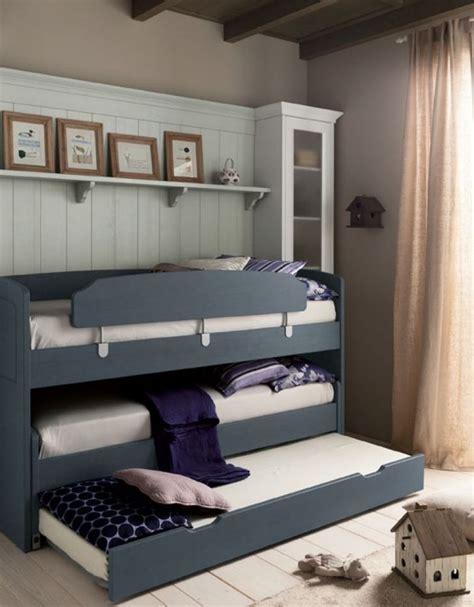 letto a a tre cameretta salva spazio in legno massello per tre