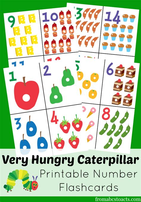 Card Templates To Cound by The Hungry Caterpillar Printable Number Flashcards