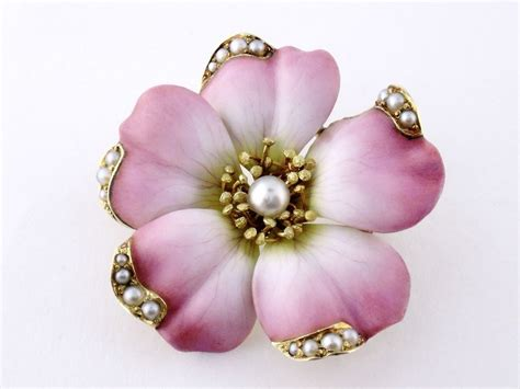 Vintage Flower L by Antique Nouveau 14k Gold Enamel Enameled Pearl Large