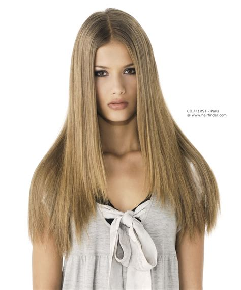 super straight long hair with a straight partition