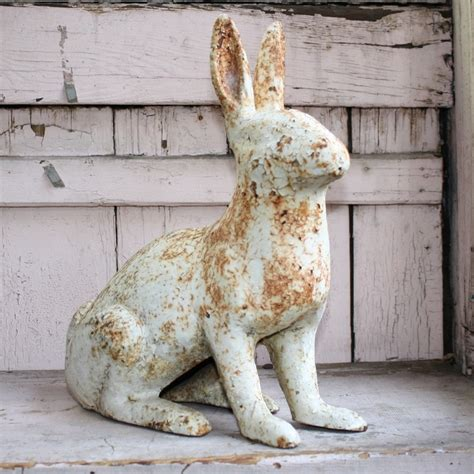 Door Stop Antik cast iron vintage painted vintage bunny rabbit doorstop