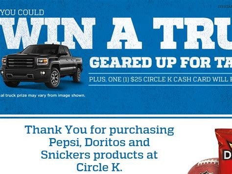 Doritos Sweepstakes 2015 - circle k on the run pepsi doritos snickers nfl tailgate sweepstakes code required