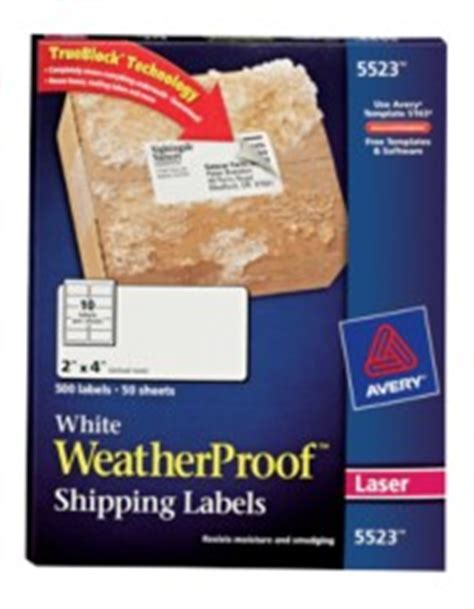 Avery Template 5523 by Avery Weatherproof Mailing Labels With Trueblock