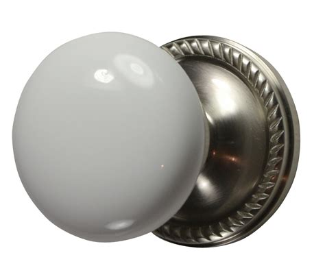 Porcelain Door Knobs White Porcelain Door Knob Brushed Nickel Georgian Roped