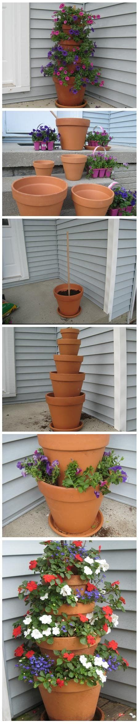 How To Make A Terracotta Pot Flower Tower With Annuals Flower Tower Planter