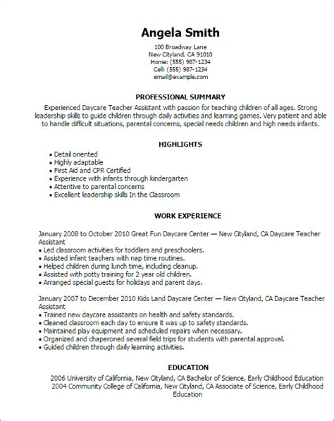 Resume Exle For Daycare Professional Daycare Assistant Templates To Showcase Your Talent Myperfectresume