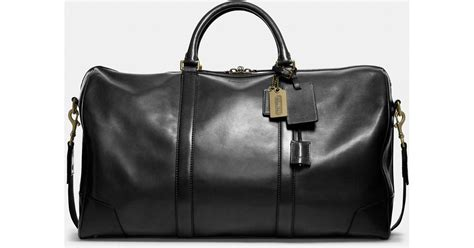 The Coach Bleecker Tattersall Shopping Bag by Lyst Coach Bleecker Cabin Bag In Leather In Black For