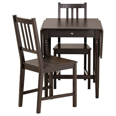 black table and chairs ingatorp stefan table and 2 chairs black brown 59 cm ikea