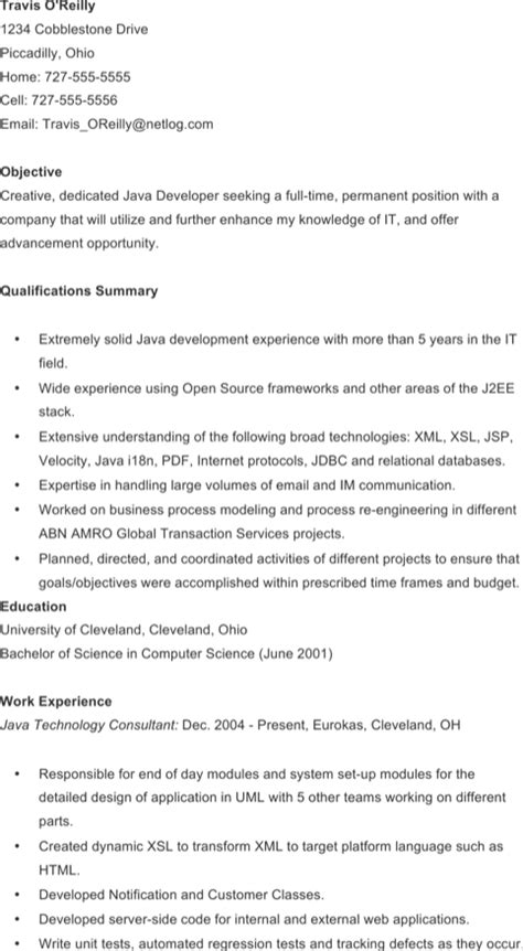 java developer resume sle 28 java developer resume hitecauto us exiucu biz