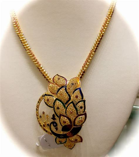 gold chain with peacock pendant jewellery designs