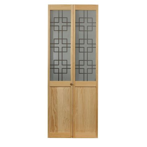 Bi Fold Doors Glass Panels Pinecroft 24 In X 80 In Geometric Glass Raised Panel Pine Interior Bi Fold Door 875520
