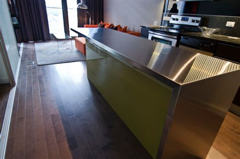 Ikea Custom Countertops ikea island with custom thermofoil doors and stainless steel countertop modern kitchen
