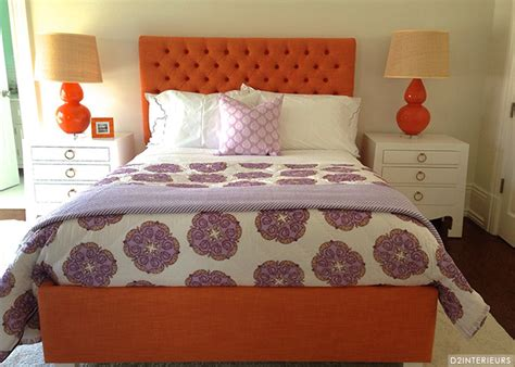Orange Upholstered Headboard orange tufted headboard contemporary s room d2